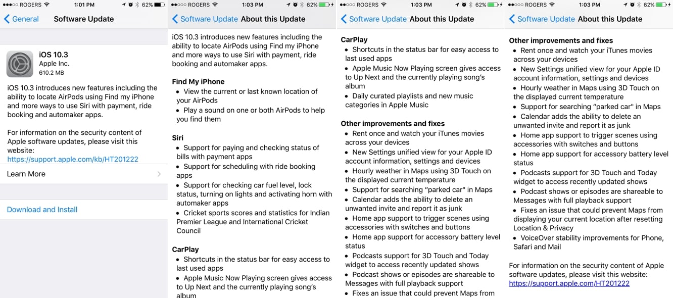 Apple releases iOS 10.3 with Find My AirPods, Siri + CarPlay improvements