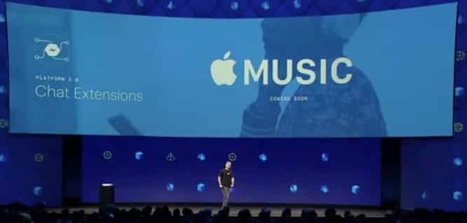 Facebook integrating Apple Music into Messenger app