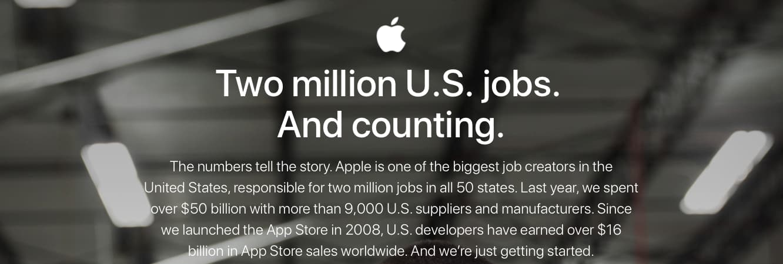 Apple posts new web page emphasizing U.S. job creation