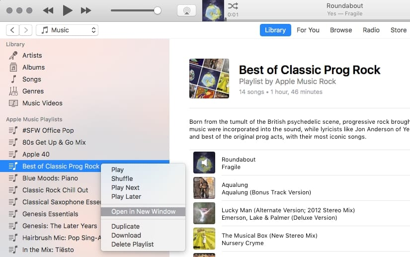 Opening a Playlist in a separate window in iTunes 12.6