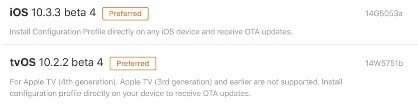 Apple releases fourth betas of iOS 10.3.3, tvOS 10.2.2 to developers