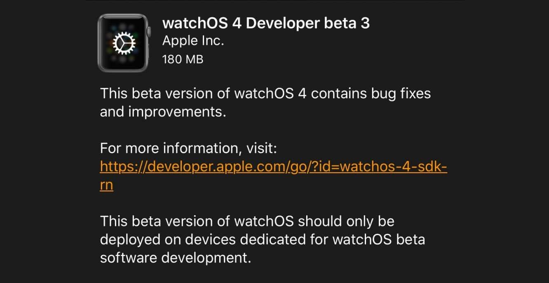 Apple releases third watchOS 4 developer beta