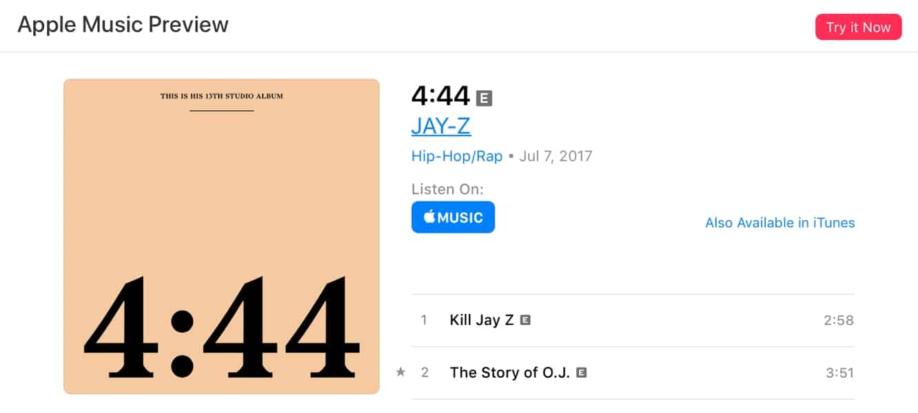 Jay-Z's '4:44' comes to Apple Music following Tidal exclusive