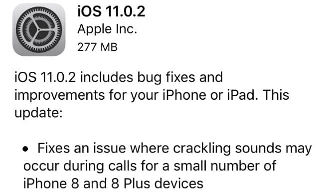 Apple releases iOS 11.0.2 with fix for iPhone 8 speaker problems