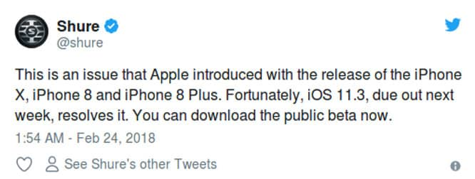 Shure hints at iOS 11.3 coming this week in since-deleted tweet
