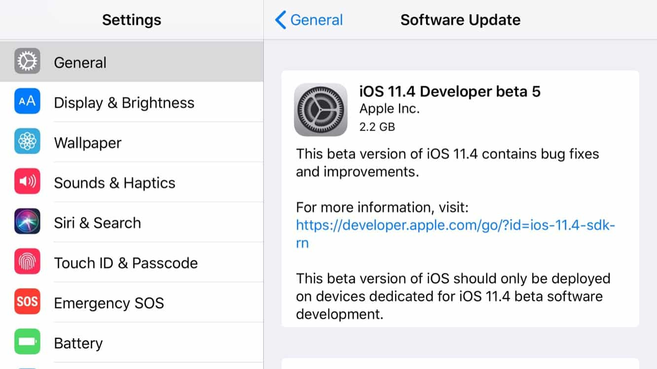 Apple releases fifth betas for iOS 11.4, tvOS 11.4, and watchOS 4.3.1