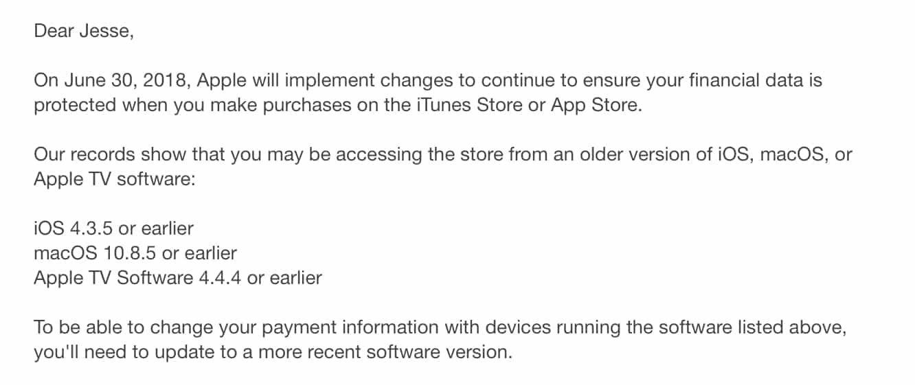 Apple notifies users of very old OS versions about upcoming payment security changes