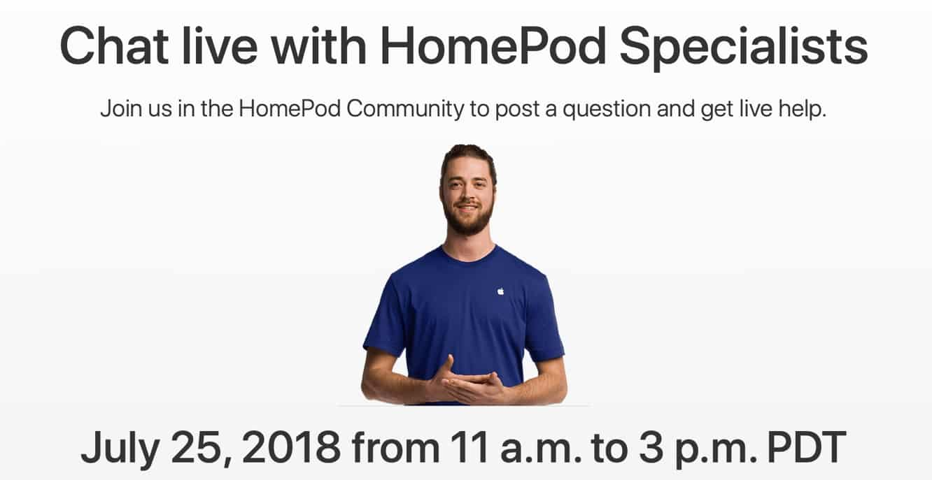 Apple hosting HomePod Support Live Chat on July 25