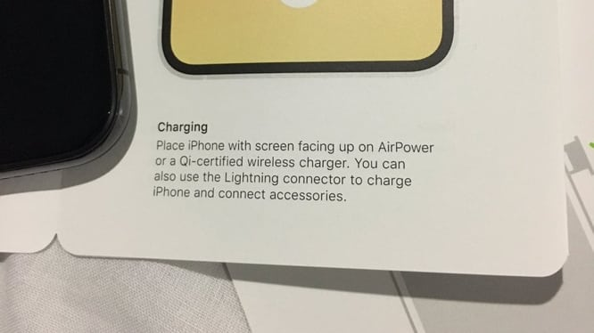 iPhone XS manual includes references to AirPower