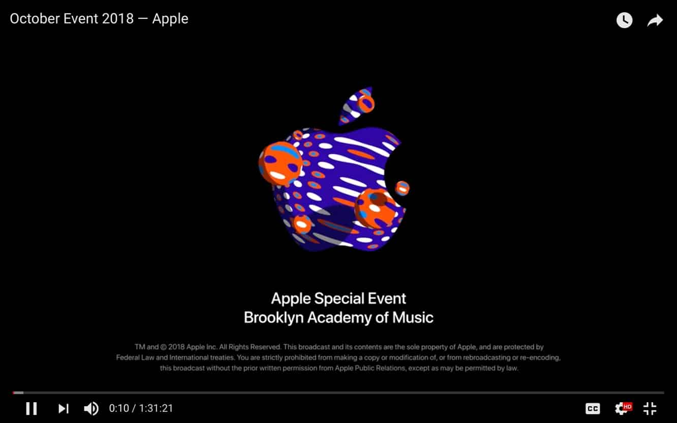 Apple posts Oct. 30 event video on YouTube