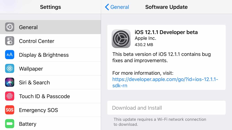 Apple posts first developer betas of iOS 12.1.1, tvOS 12.1.1