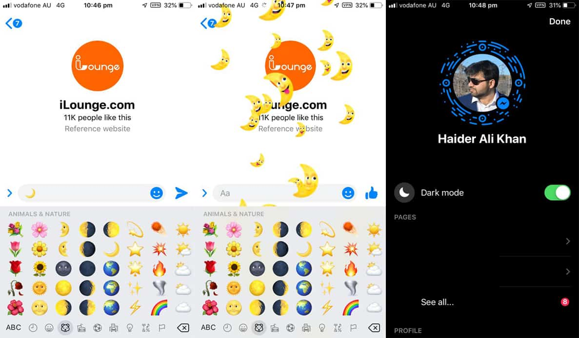 Facebook Messenger Dark Mode iOS and Android