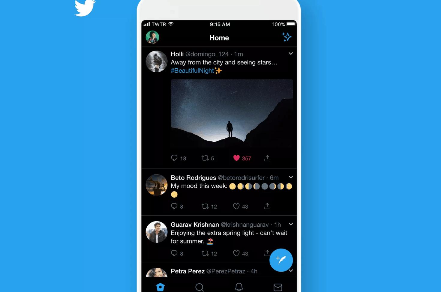 New Twitter dark mode