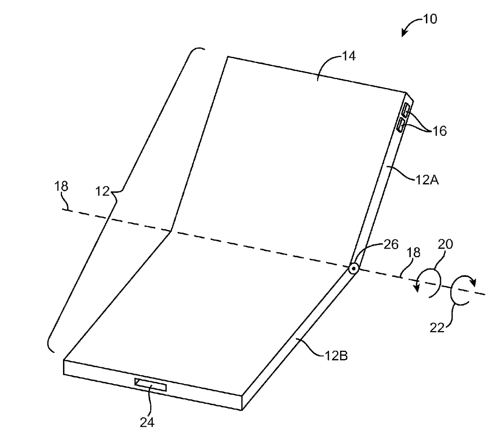 Apples patent of a foldable phone back in 2016 - Source: USPTO