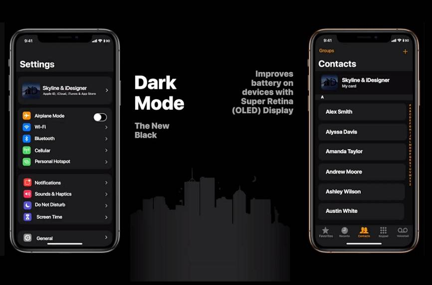 iOS Dark Mode [For representational purpose]