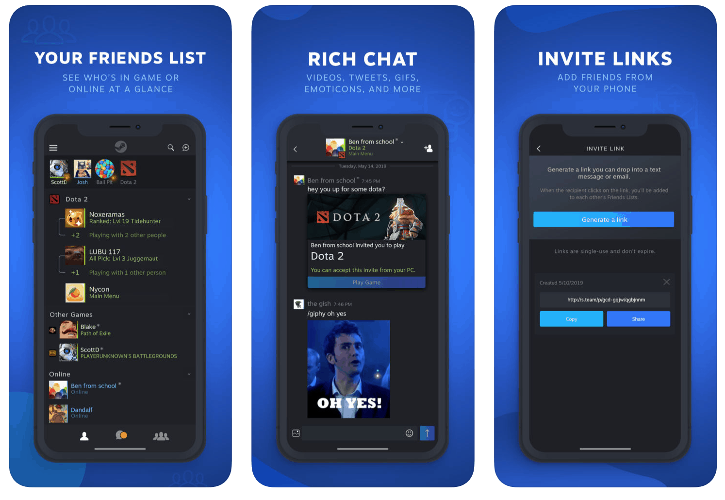 Steam Chat App Released for iOS And Android