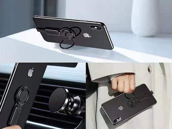 2-in-1 Dual Lightning Adapter with Phone Ring Holder for iPhone