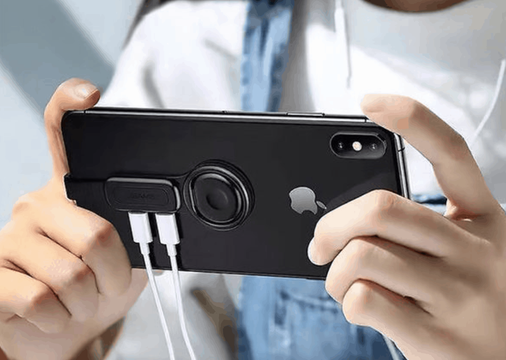 2-in-1 Dual Lightning Adapter with Phone Ring Holder