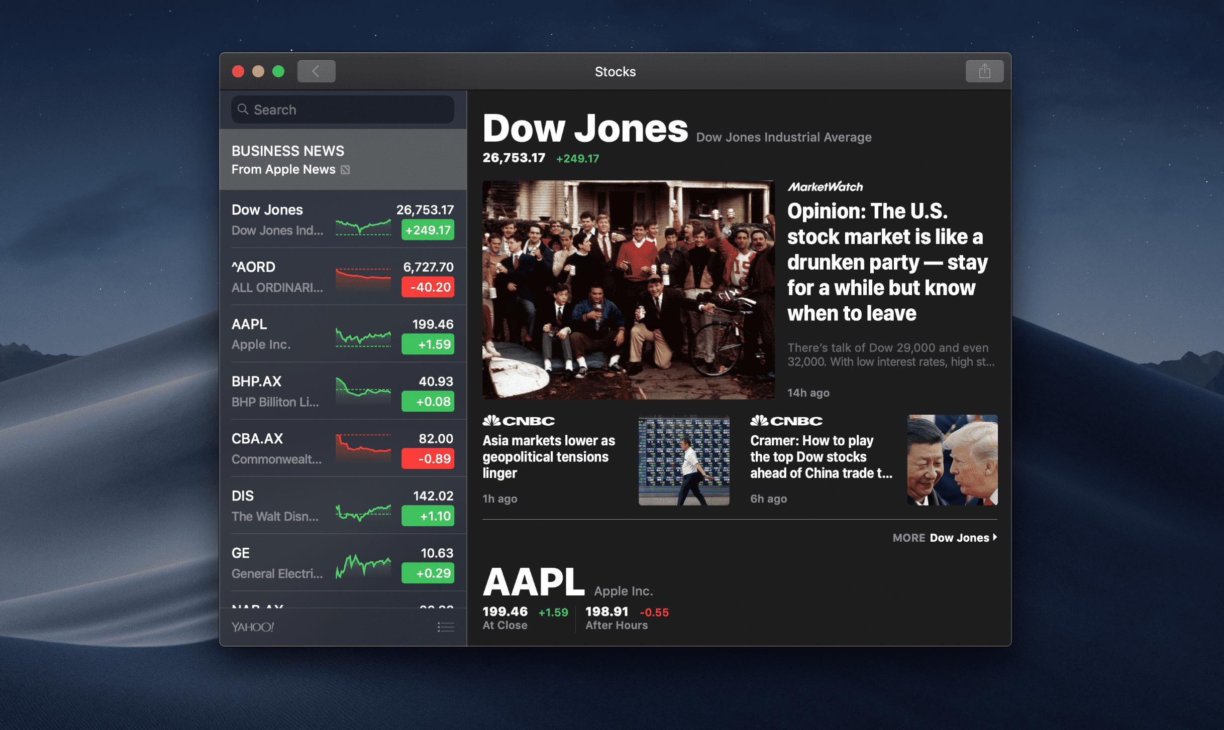 Stock Mac Apps on macOS Catalina