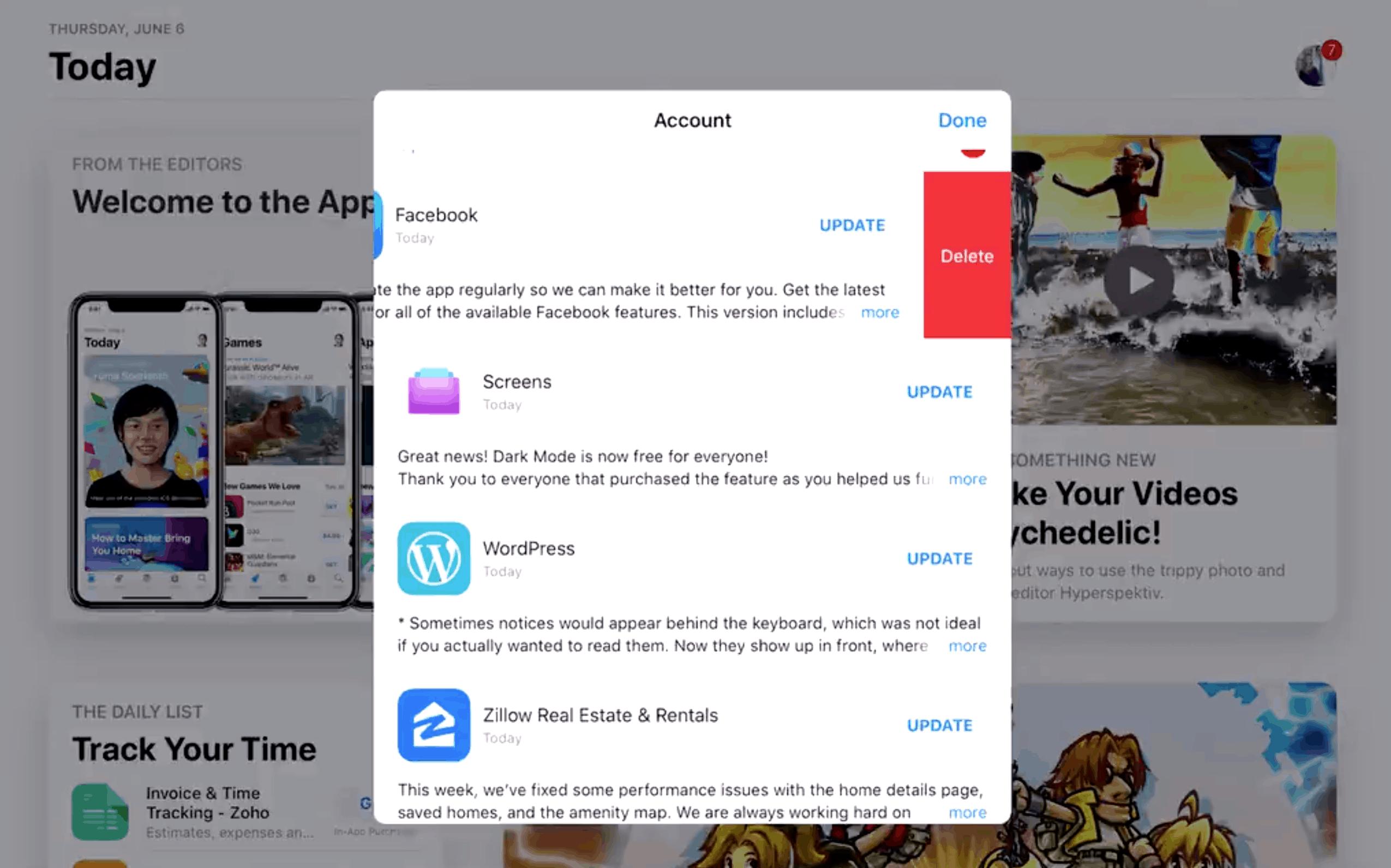 iOS 13 App Delete