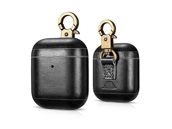 CarryOn Handmade Leather AirPod Case with Carabiner in Black color