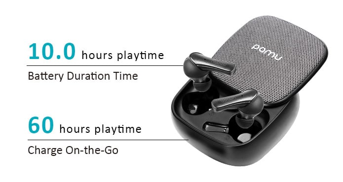 Enjoy 60 hours of Playtime with earbuds