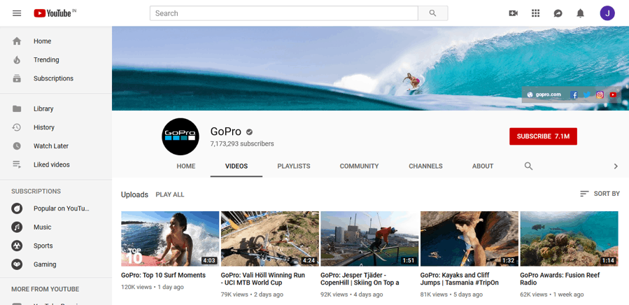 GoPro focuses on excellent storytelling to garner more views and subscribers.