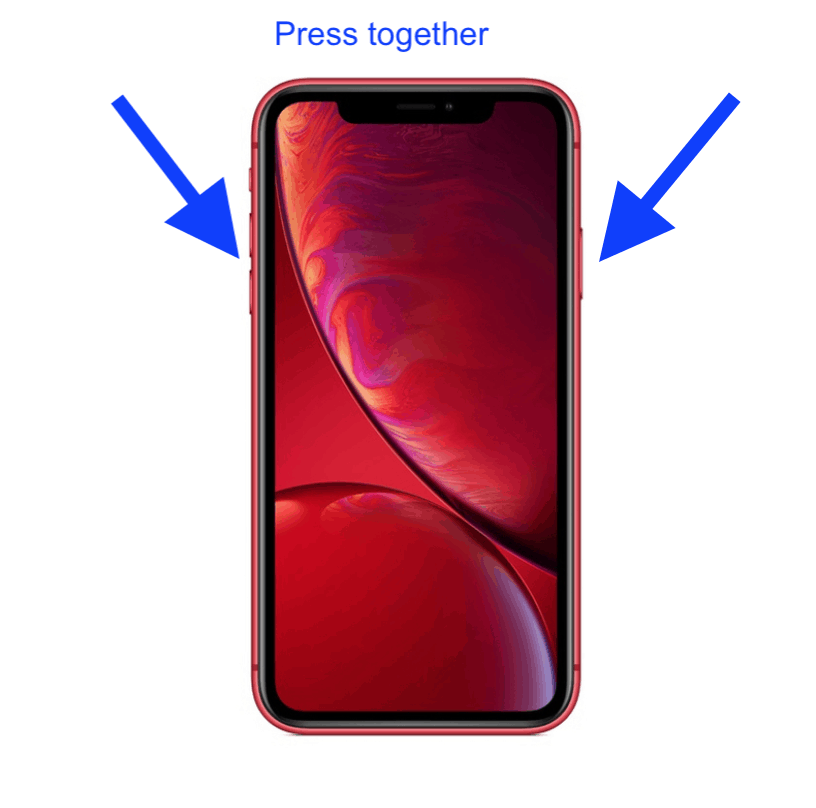 Press two buttons on iPhone XR