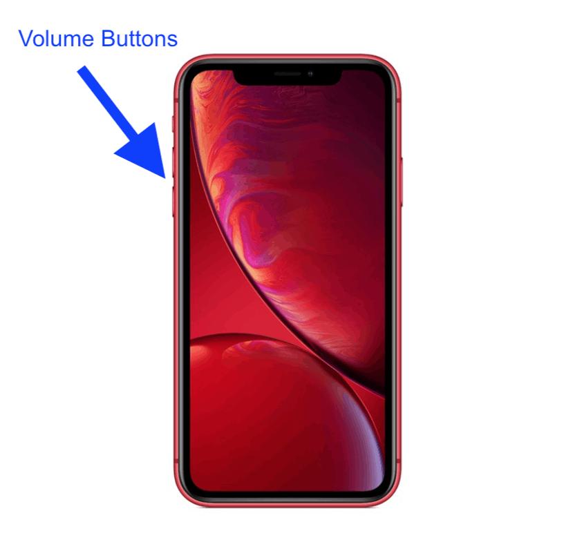 iPhone XR up botton
