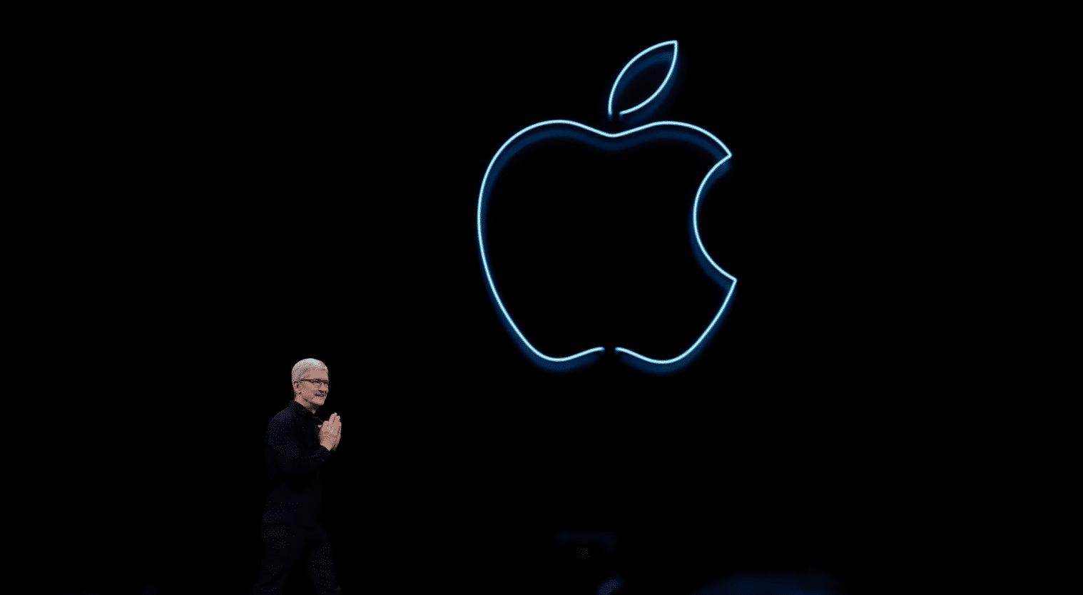 Apple CEO with Apple Inc Logo