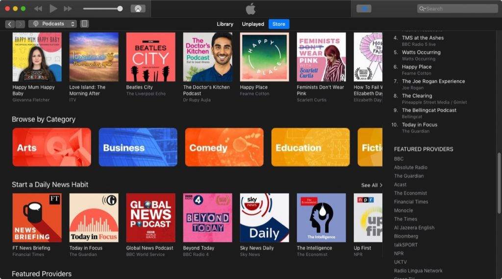 Podcasts App gets new content categories