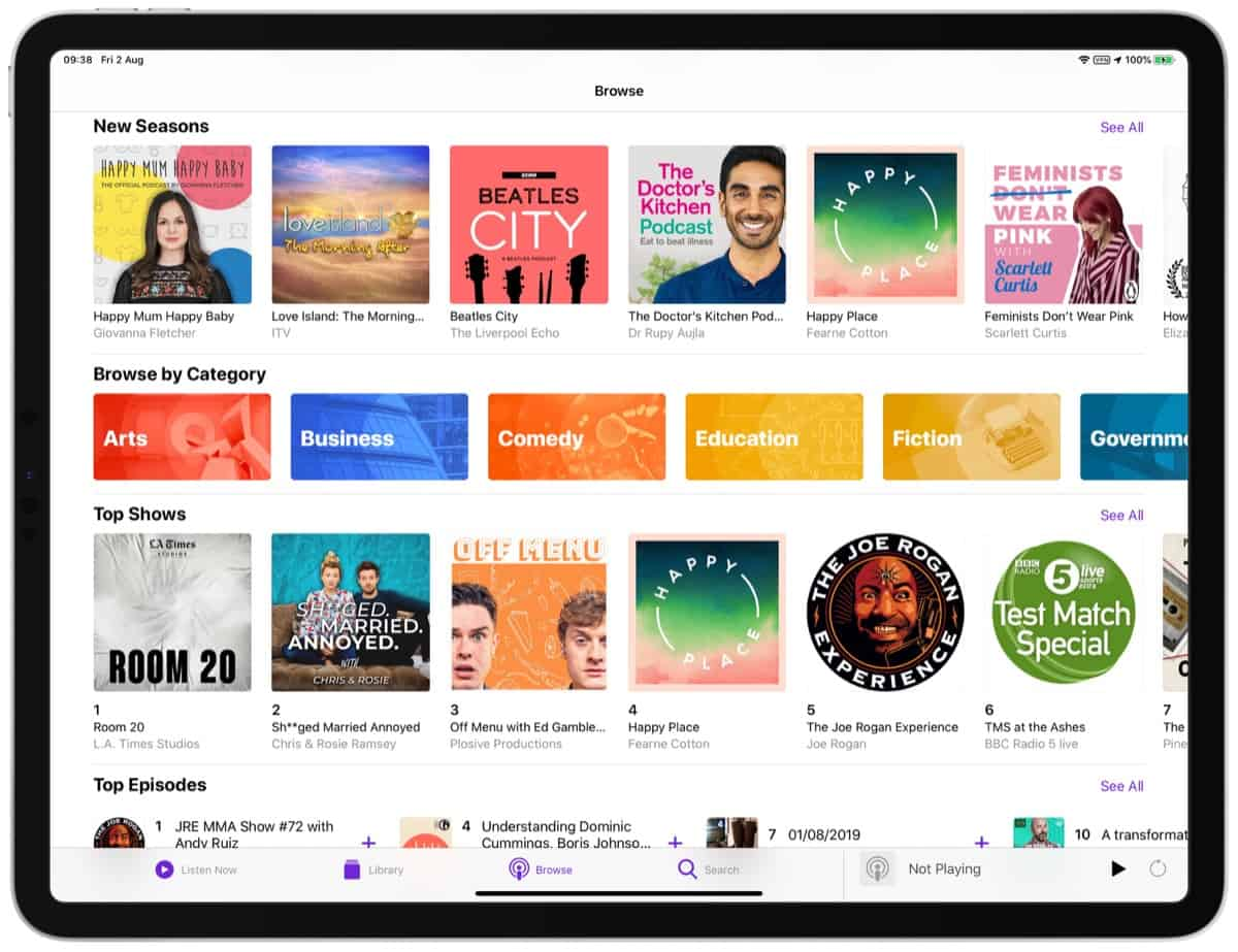 Podcasts App Content Categories