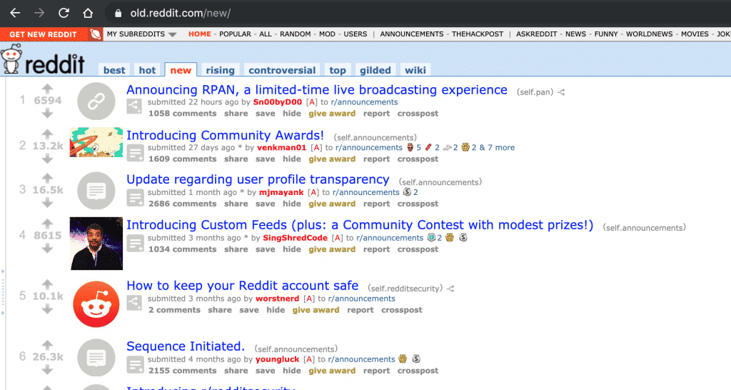 Reddit accessible via old website
