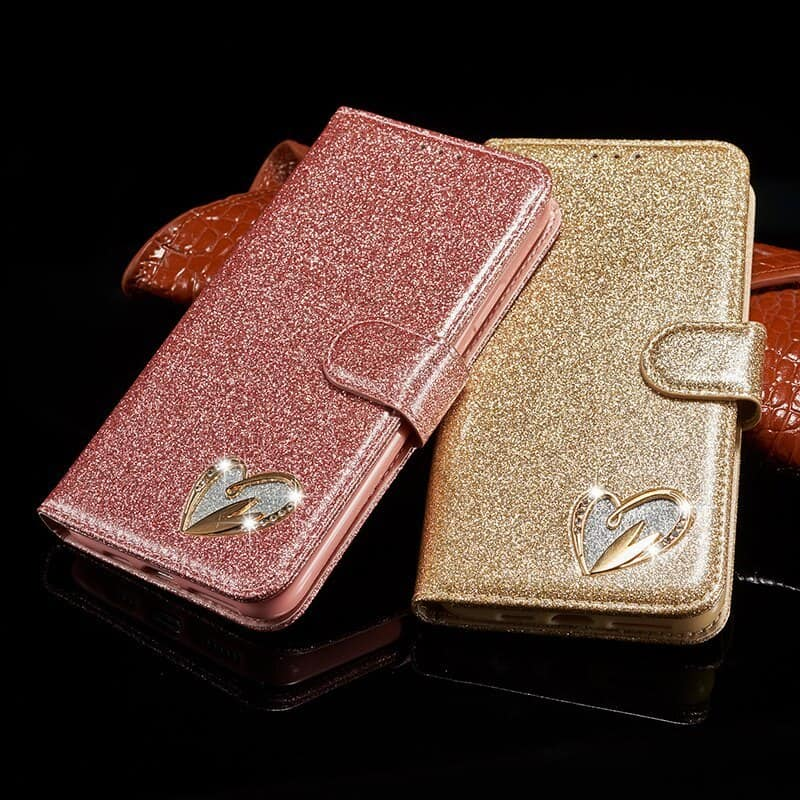 Bling Glitter Leather Case for Girls for iPhone 11, iPhone 11 Pro and iPhone 11 Pro Max