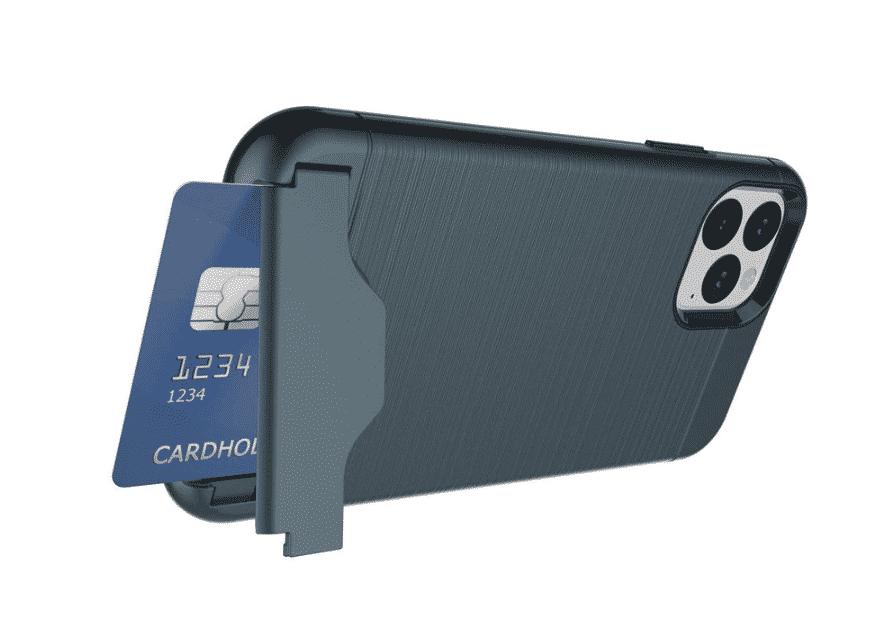 Brushed Armor Card Holder Case for iPhone 11