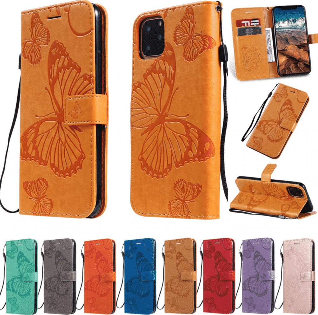 Butterfly Leather Wallet Case for iPhone 11, iPhone 11 Pro and iPhone 11 Pro Max