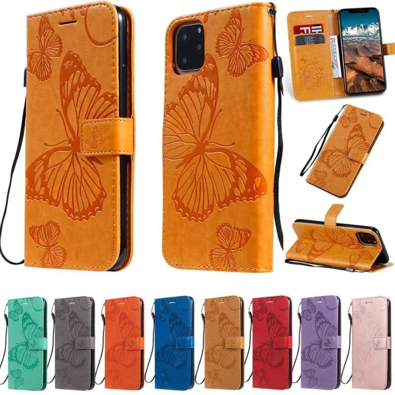 Butterfly Leather Wallet Girls Case for iPhone 11, iPhone 11 Pro and iPhone 11 Pro Max