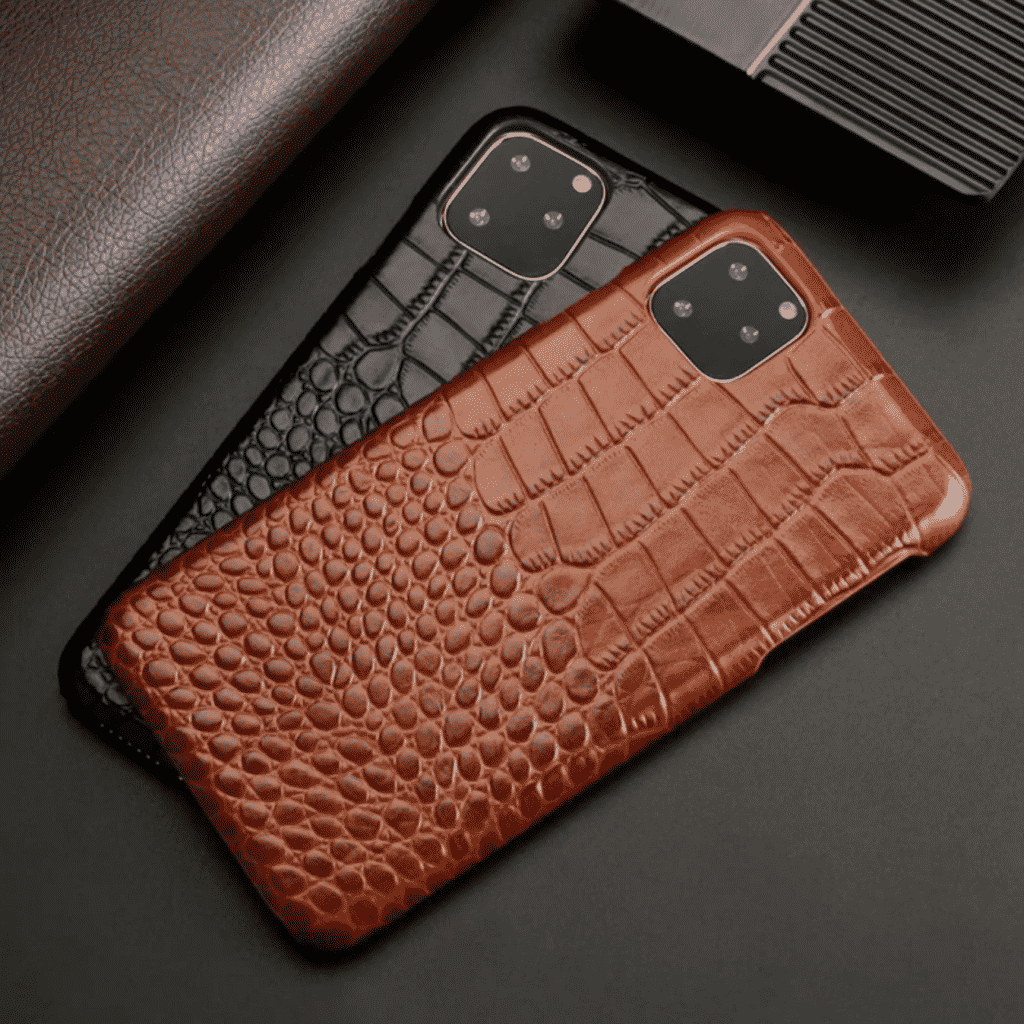 Crocodile Grain Leather Case for iPhone 11