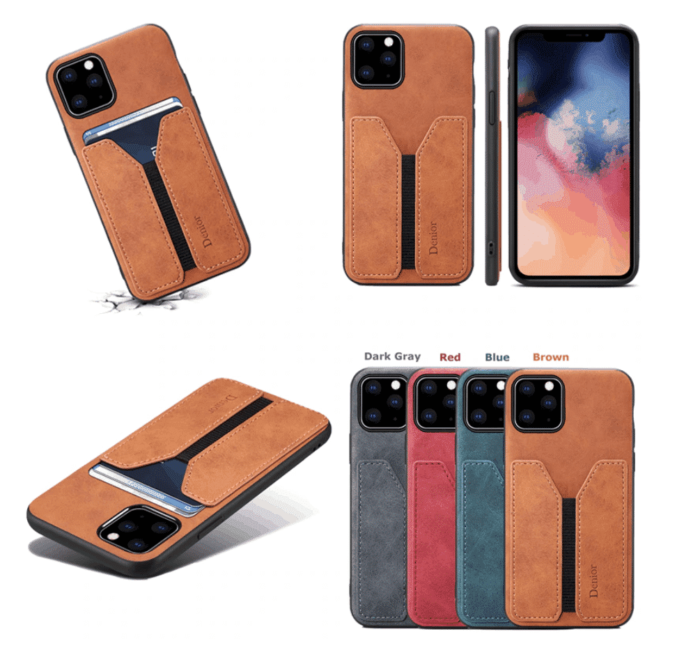 Deluxe Leather Card Holder Case for iPhone 11