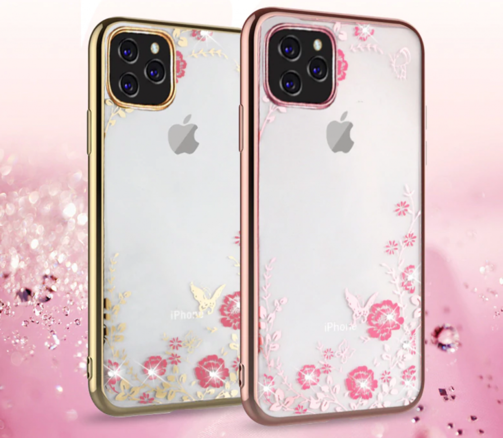 Glitter Diamond Flower Clear Soft Silicone Case for iPhone 11, iPhone 11 Pro and iPhone 11 Pro Max