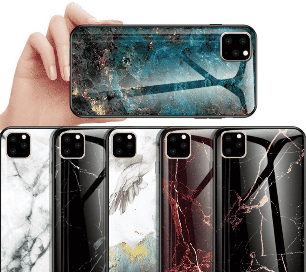 KEYSION Marble Tempered Glass Case for iPhone 11