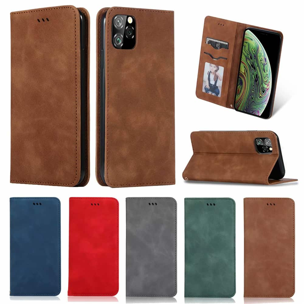Luxury Leather Flip Wallet Case for iPhone 11