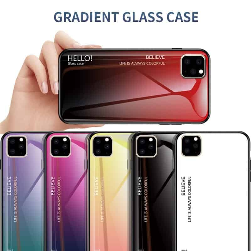 Ollyden Gradient Tempered Glass Cases for iPhone 11