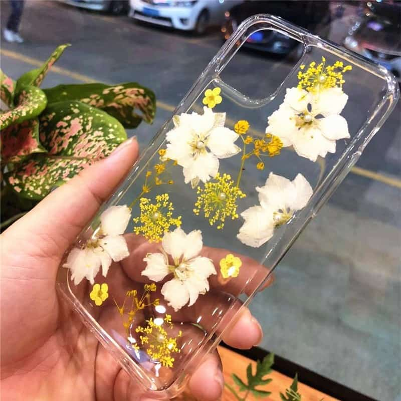 Real Dried Flowers Clear TPU Case for iPhone 11, iPhone 11 Pro and iPhone 11 Pro Max