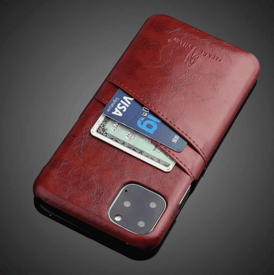 Slim Hard Leather Card Holder Case for iPhone 11