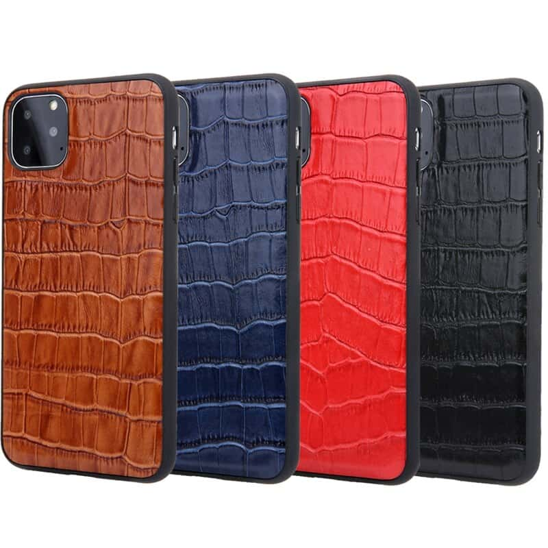 Solque Genuine Leather Crocodile Style Case for iPhone 11