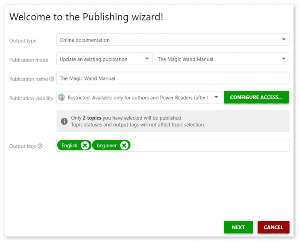 The Publishing wizard window will appear. Configure publishing according to your needs