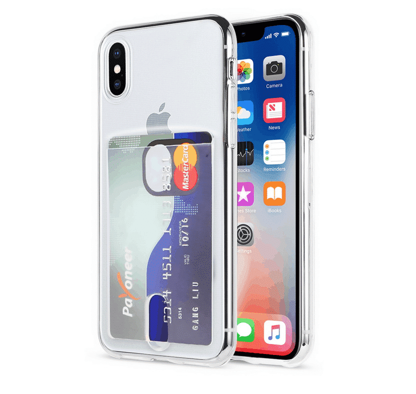 Transparent Soft TPU Card Holder Case for iPhone 11 Pro