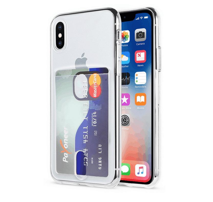 Transparent Soft TPU Card Holder Case for iPhone 11
