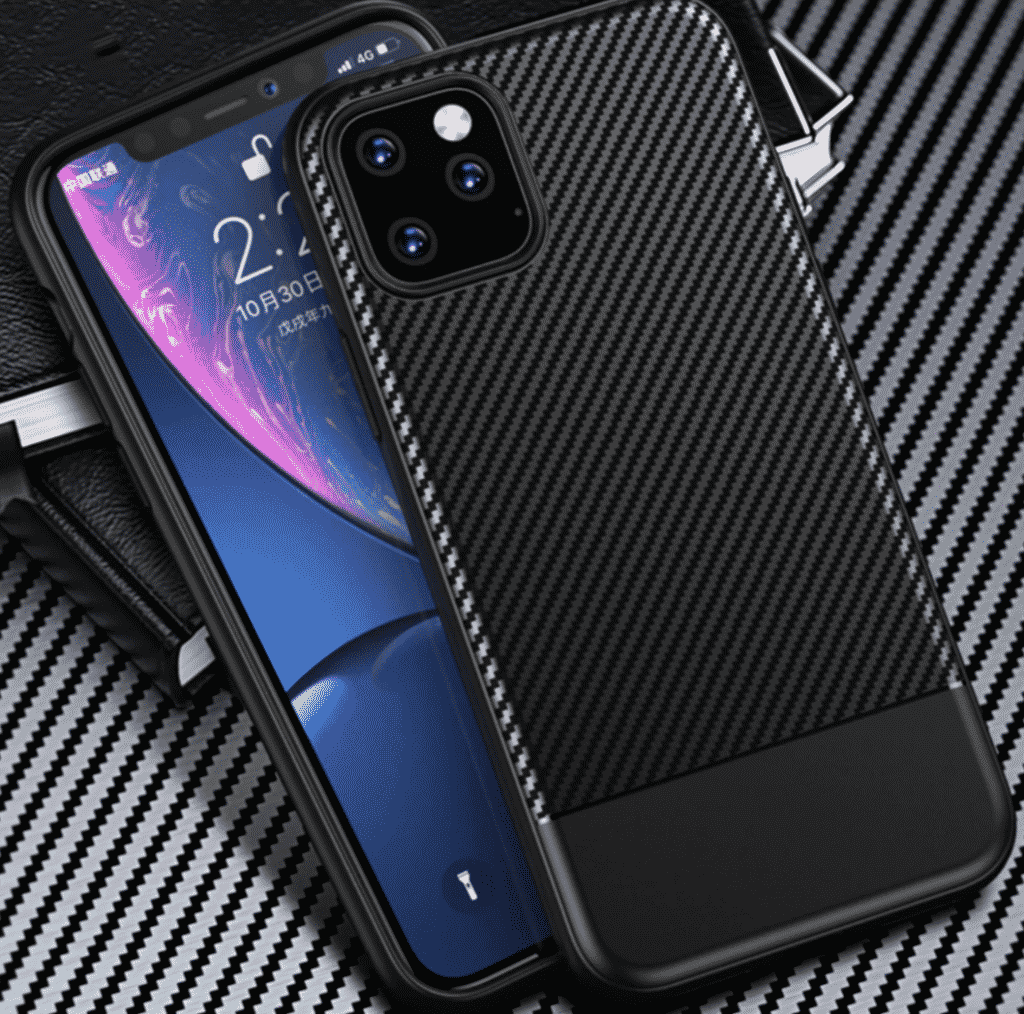This is a carbon fiber case for the iPhone 11 Pro Max by Binbo.